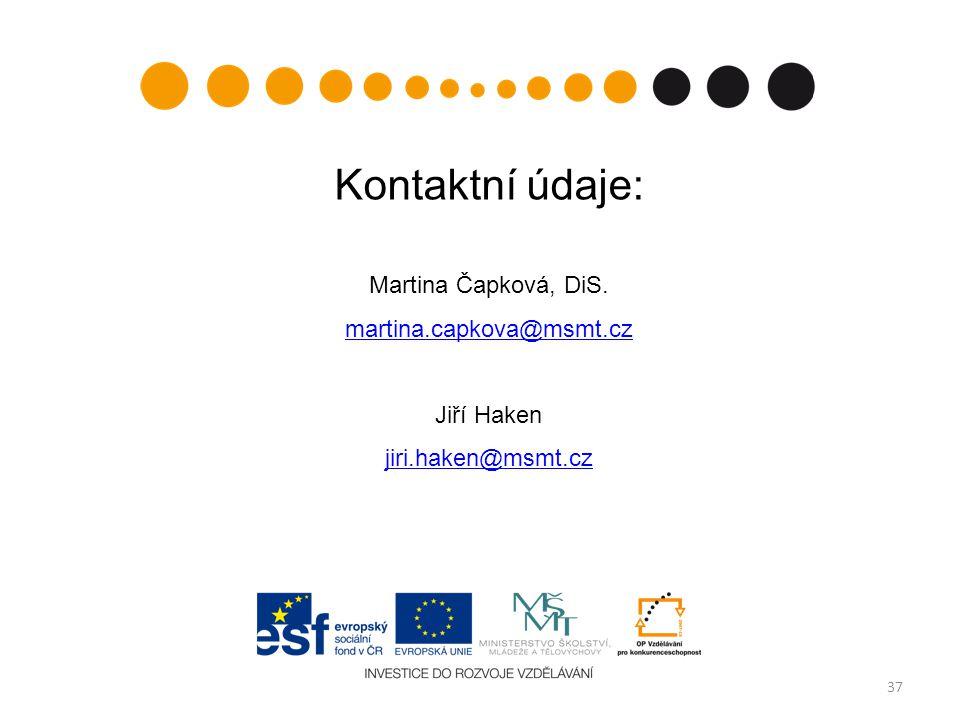 Kontaktní údaje: Martina Čapková, DiS. martina.capkova@msmt.cz