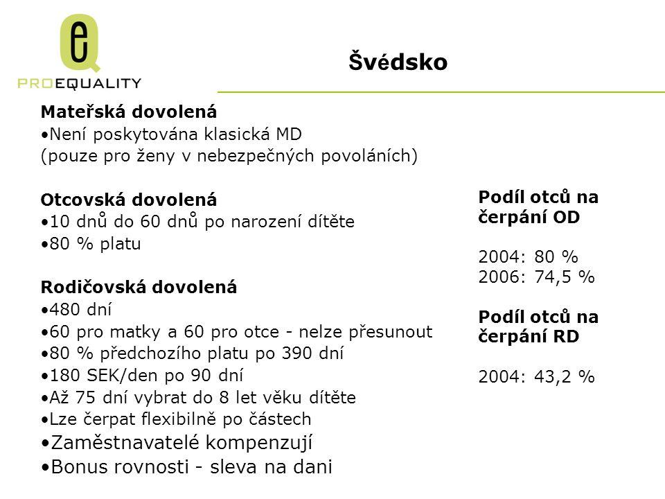 Švédsko Zaměstnavatelé kompenzují Bonus rovnosti - sleva na dani
