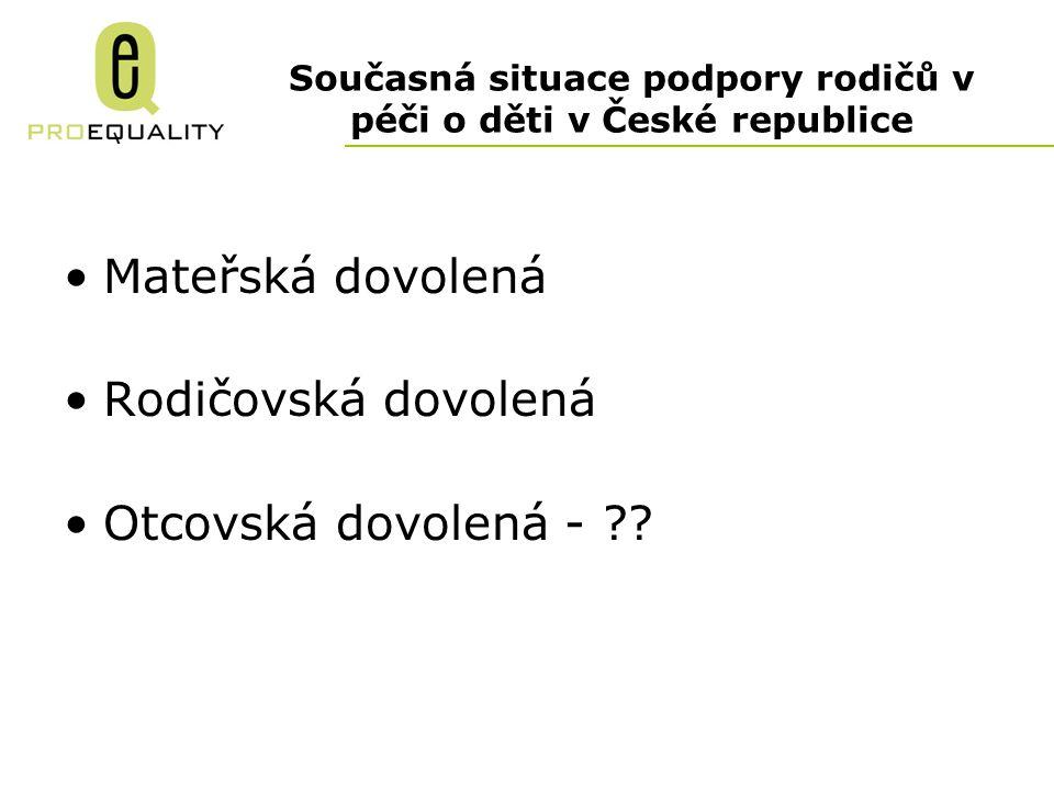 Současná situace podpory rodičů v péči o děti v České republice