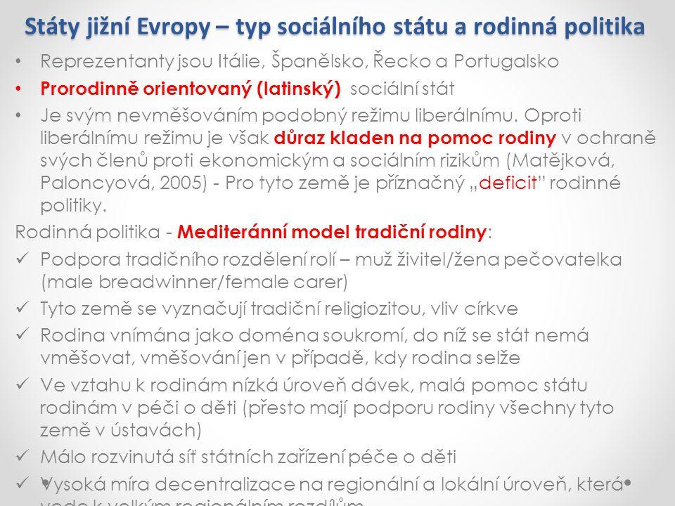 Státy jižní Evropy – typ sociálního státu a rodinná politika