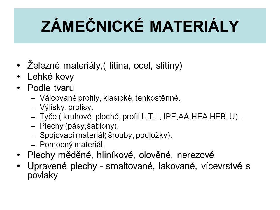 ZÁMEČNICKÉ MATERIÁLY Železné materiály,( litina, ocel, slitiny)