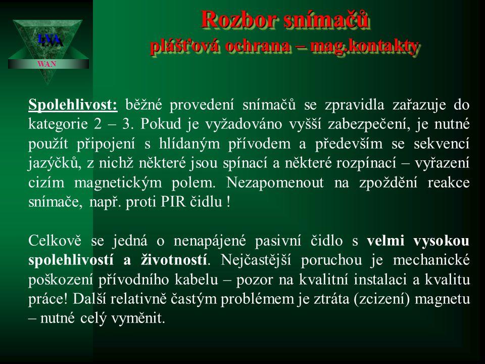 Rozbor snímačů plášťová ochrana – mag.kontakty