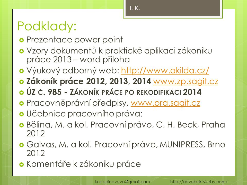 Podklady: Prezentace power point