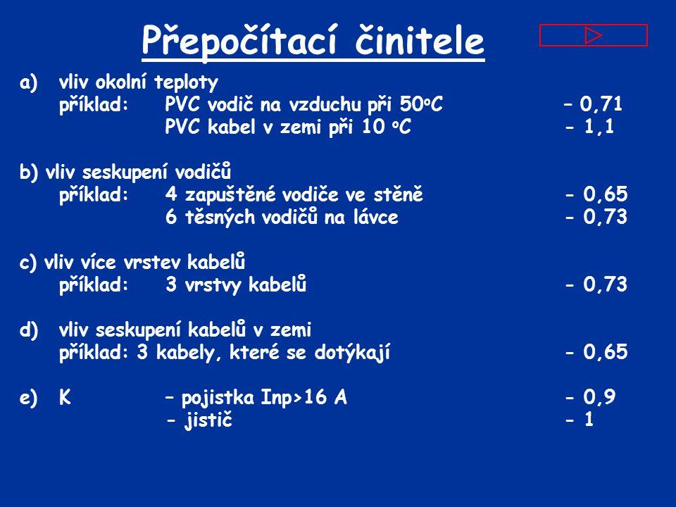 Přepočítací činitele a) vliv okolní teploty