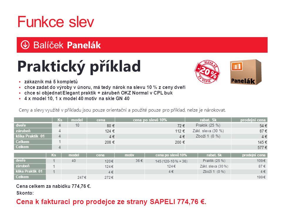 Funkce slev Praktický příklad Balíček Panelák