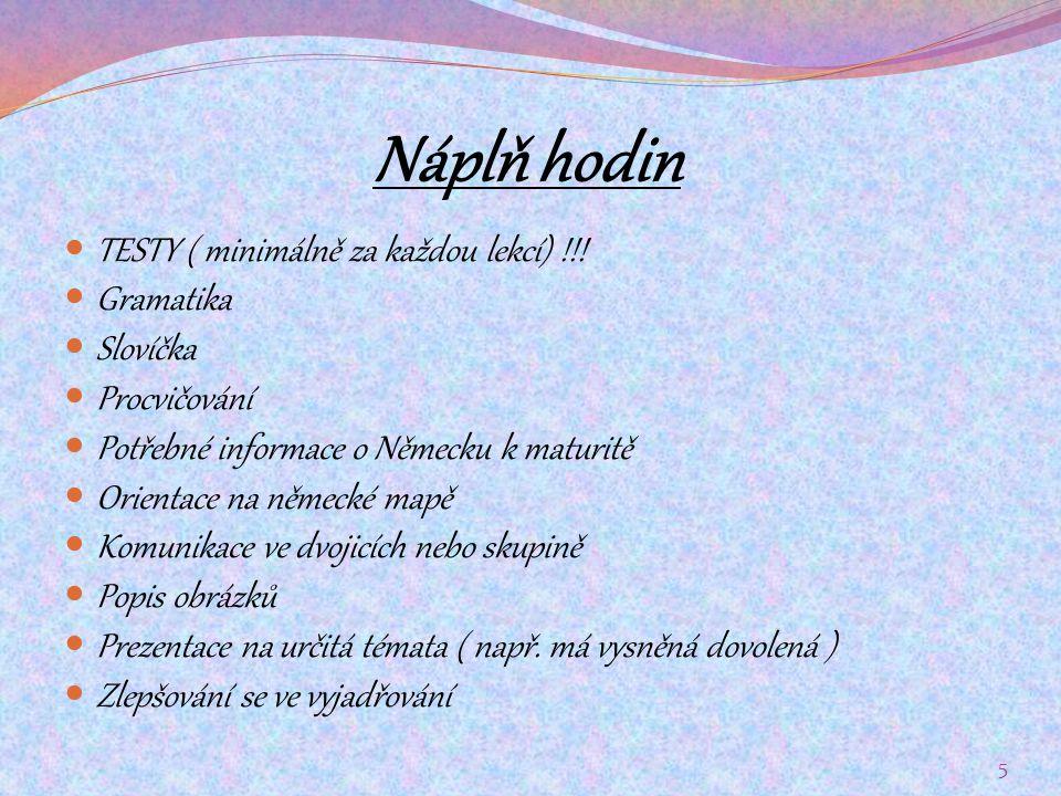 Náplň hodin TESTY ( minimálně za každou lekcí) !!! Gramatika Slovíčka