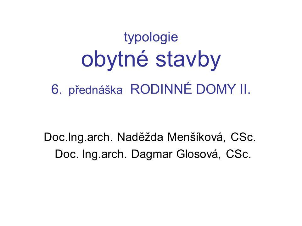 typologie obytné stavby 6. přednáška RODINNÉ DOMY II.