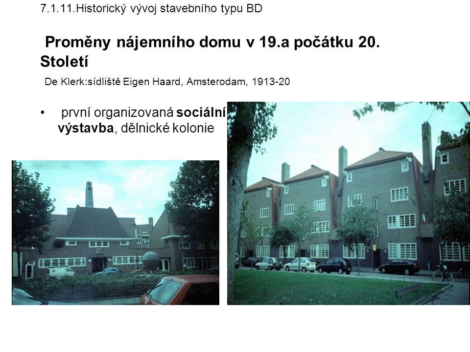 první organizovaná sociální výstavba, dělnické kolonie