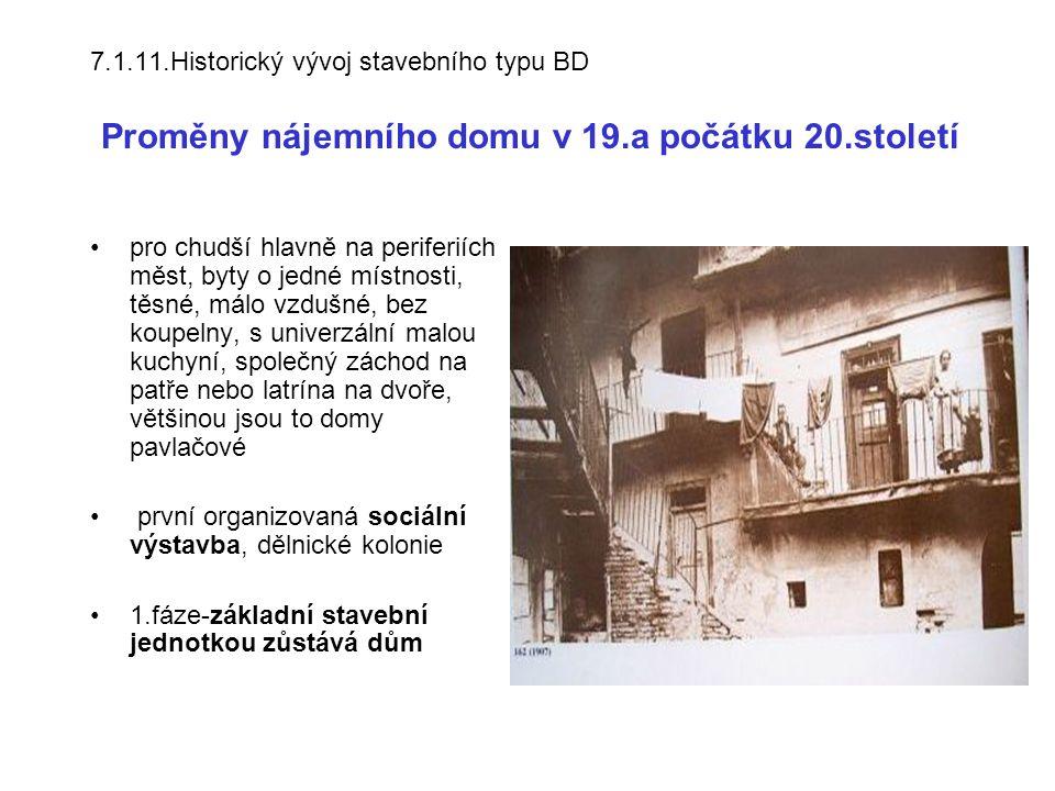 7.1.11.Historický vývoj stavebního typu BD Proměny nájemního domu v 19.a počátku 20.století
