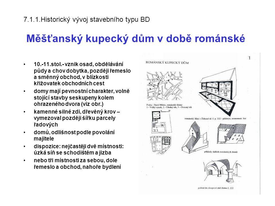7.1.1.Historický vývoj stavebního typu BD Měšťanský kupecký dům v době románské