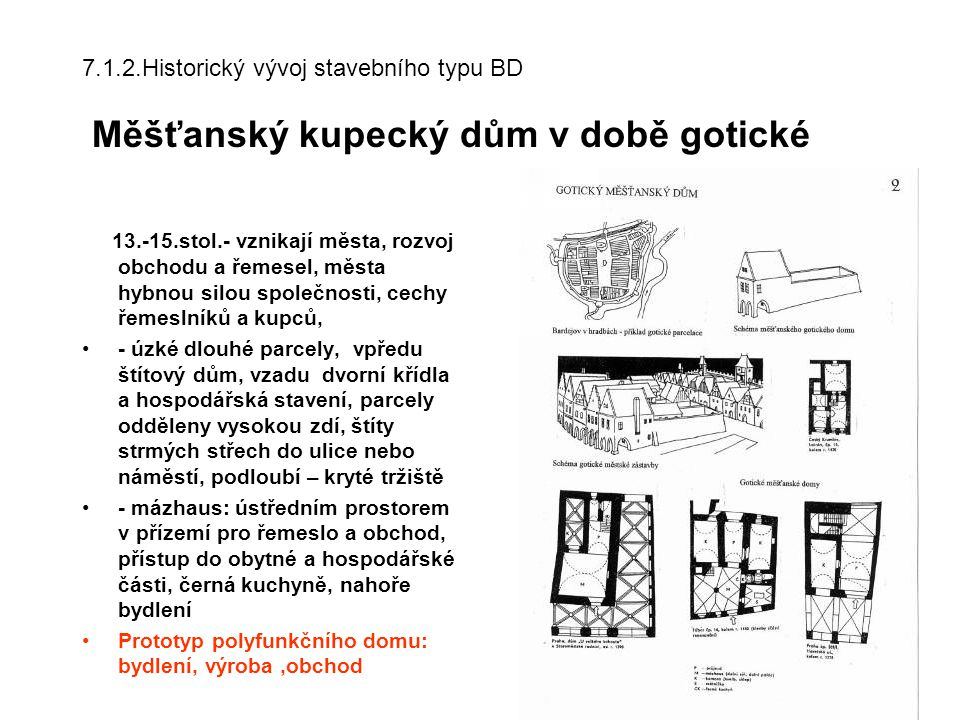 7.1.2.Historický vývoj stavebního typu BD Měšťanský kupecký dům v době gotické
