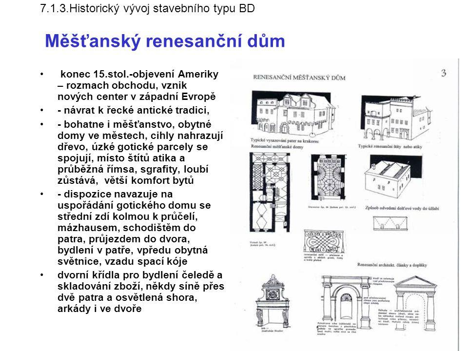7.1.3.Historický vývoj stavebního typu BD Měšťanský renesanční dům
