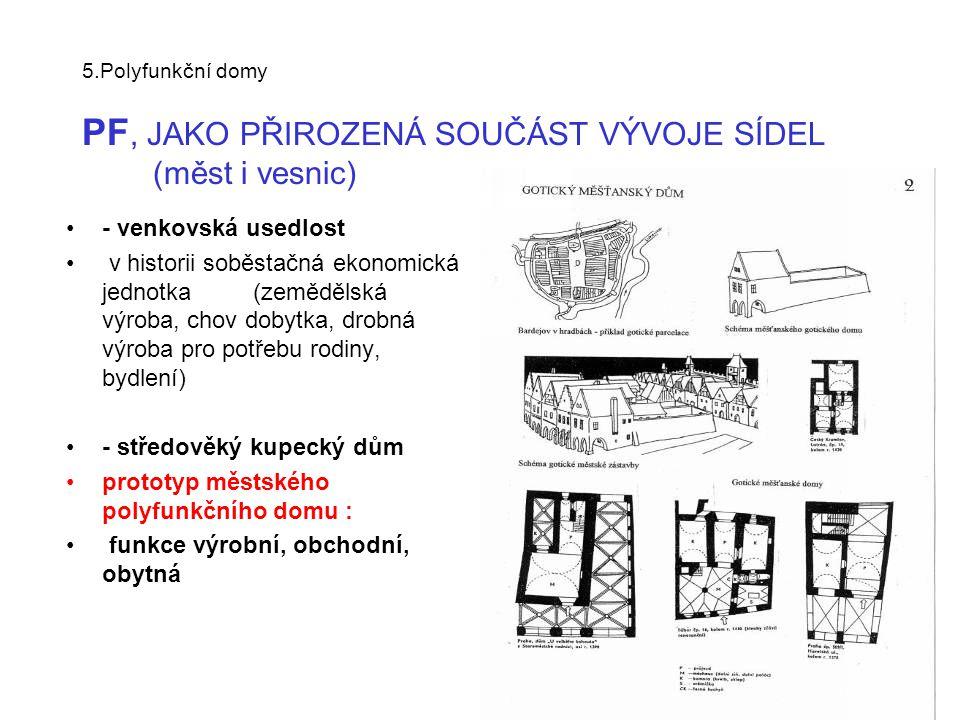 - středověký kupecký dům prototyp městského polyfunkčního domu :