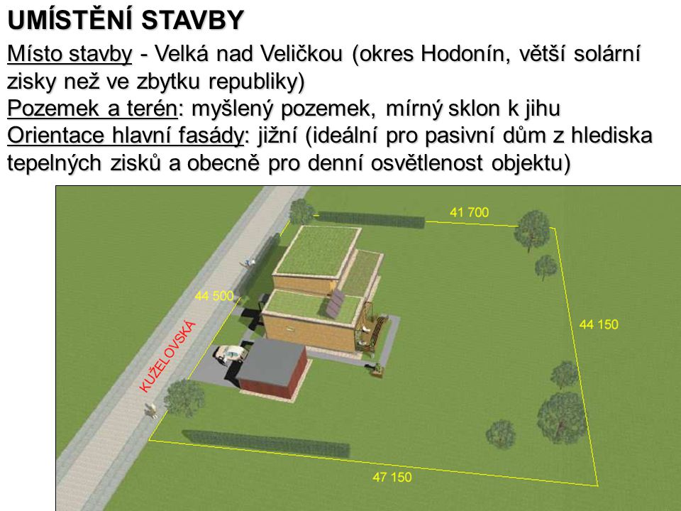UMÍSTĚNÍ STAVBY Místo stavby - Velká nad Veličkou (okres Hodonín, větší solární. zisky než ve zbytku republiky)