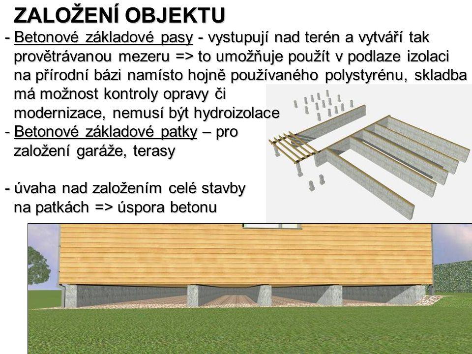 ZALOŽENÍ OBJEKTU - Betonové základové pasy - vystupují nad terén a vytváří tak. provětrávanou mezeru => to umožňuje použít v podlaze izolaci.