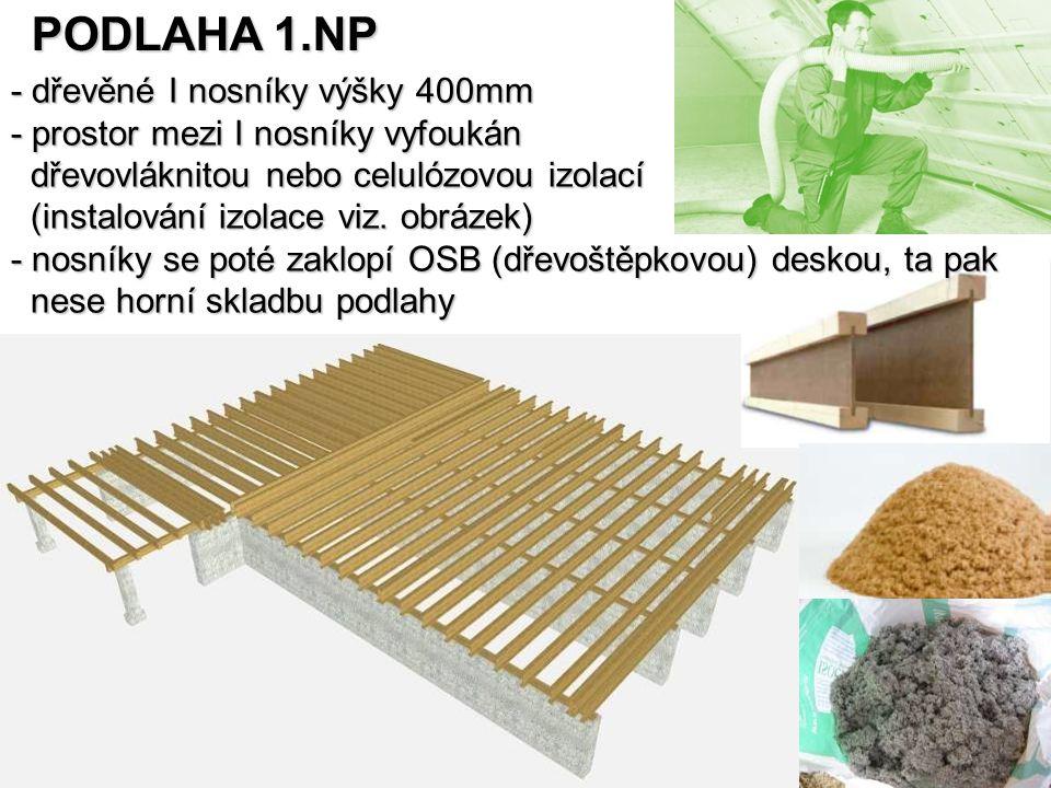 PODLAHA 1.NP - dřevěné I nosníky výšky 400mm