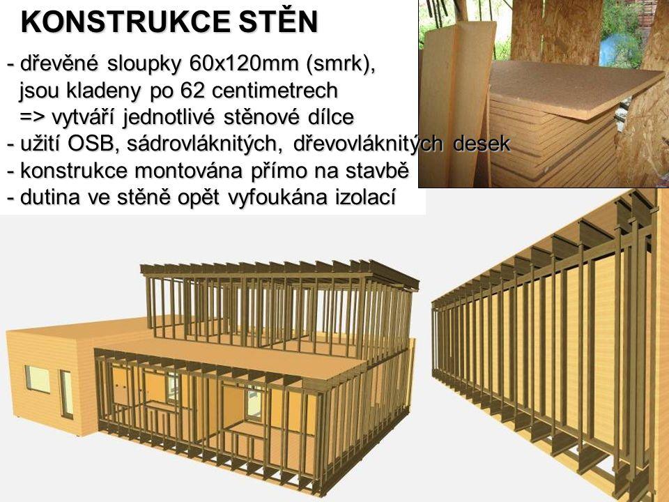 KONSTRUKCE STĚN - dřevěné sloupky 60x120mm (smrk),