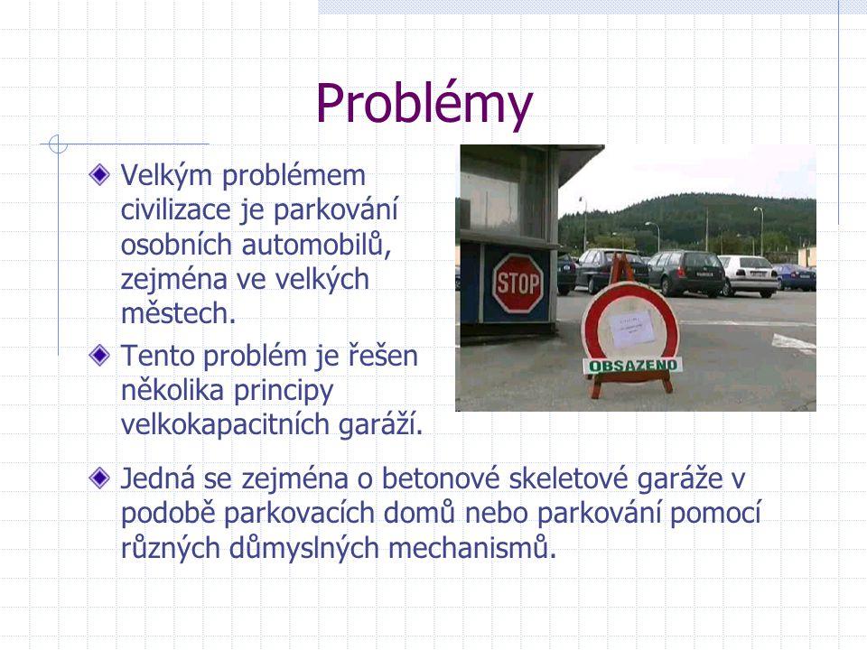 Problémy Velkým problémem civilizace je parkování osobních automobilů, zejména ve velkých městech.