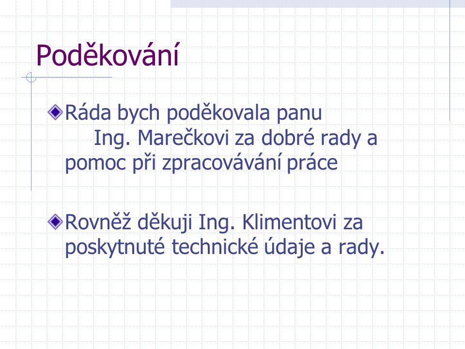 Poděkování Ráda bych poděkovala panu Ing. Marečkovi za dobré rady a pomoc při zpracovávání práce.