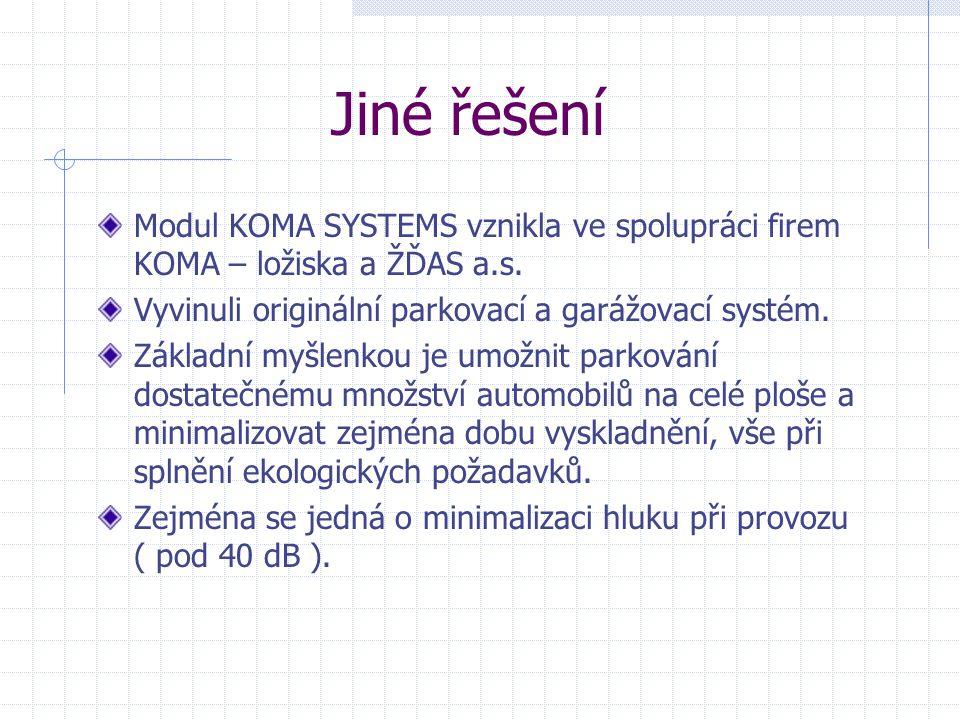 Jiné řešení Modul KOMA SYSTEMS vznikla ve spolupráci firem KOMA – ložiska a ŽĎAS a.s. Vyvinuli originální parkovací a garážovací systém.