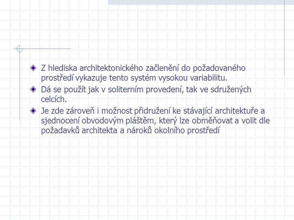 Z hlediska architektonického začlenění do požadovaného prostředí vykazuje tento systém vysokou variabilitu.