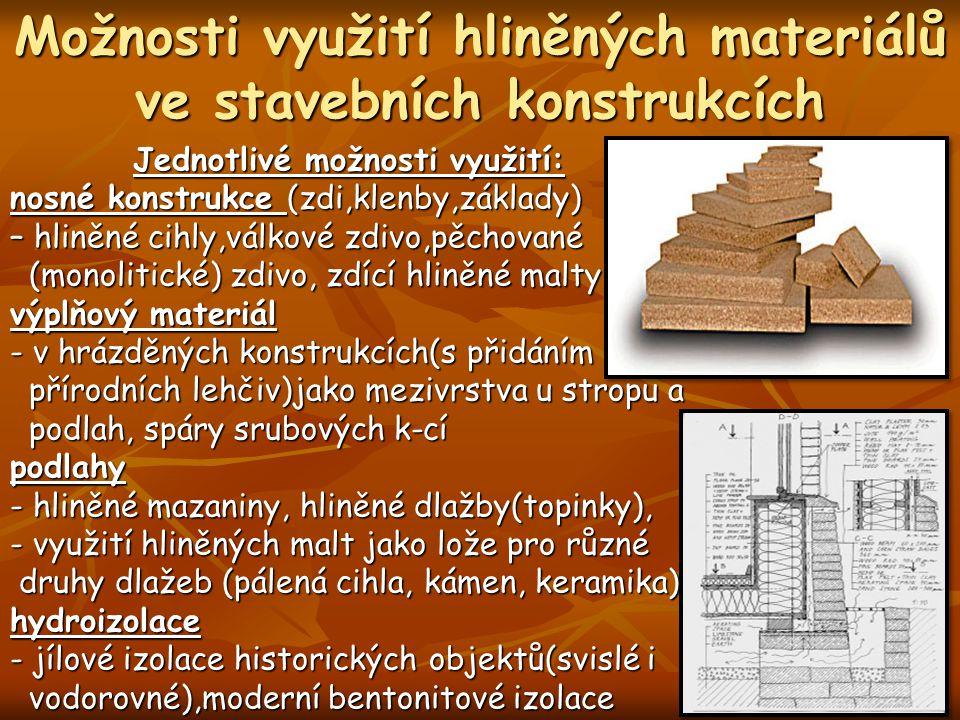 Možnosti využití hliněných materiálů ve stavebních konstrukcích