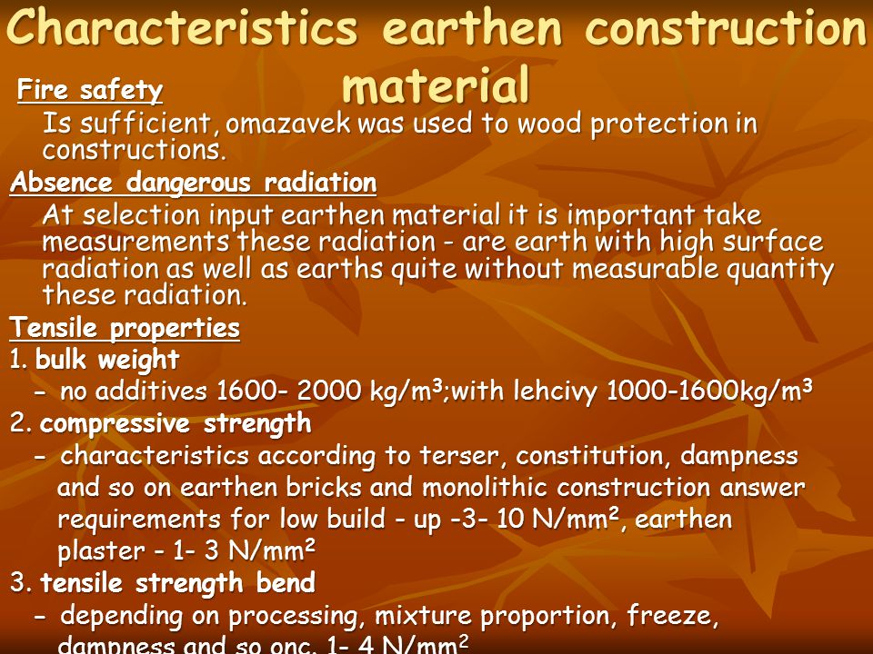 Characteristics earthen construction material