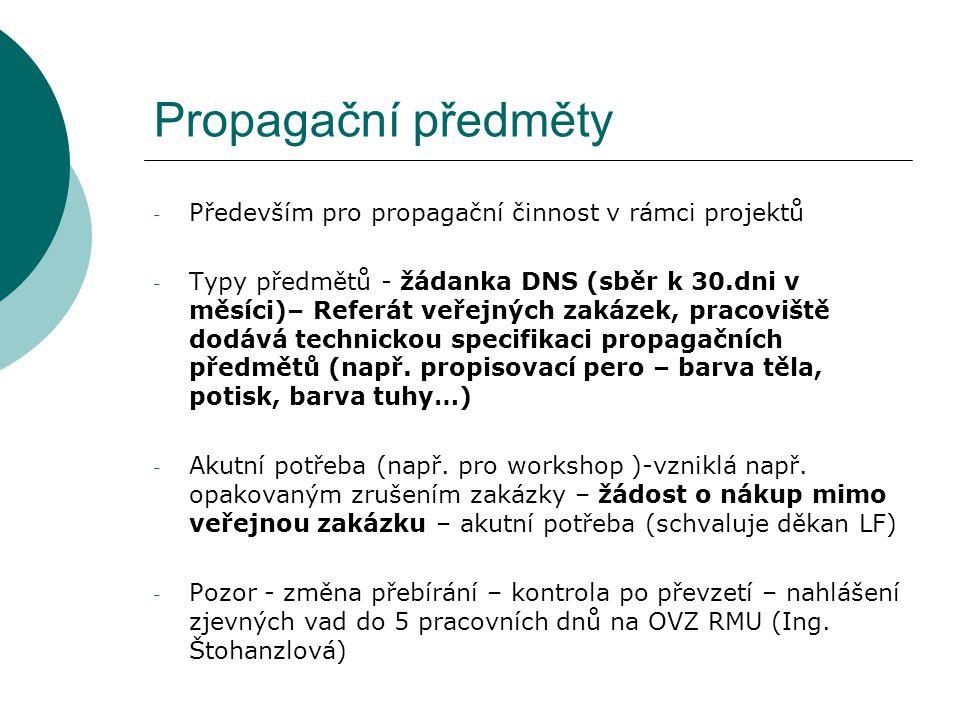 Propagační předměty Především pro propagační činnost v rámci projektů