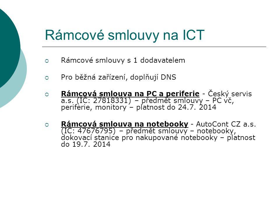 Rámcové smlouvy na ICT Rámcové smlouvy s 1 dodavatelem