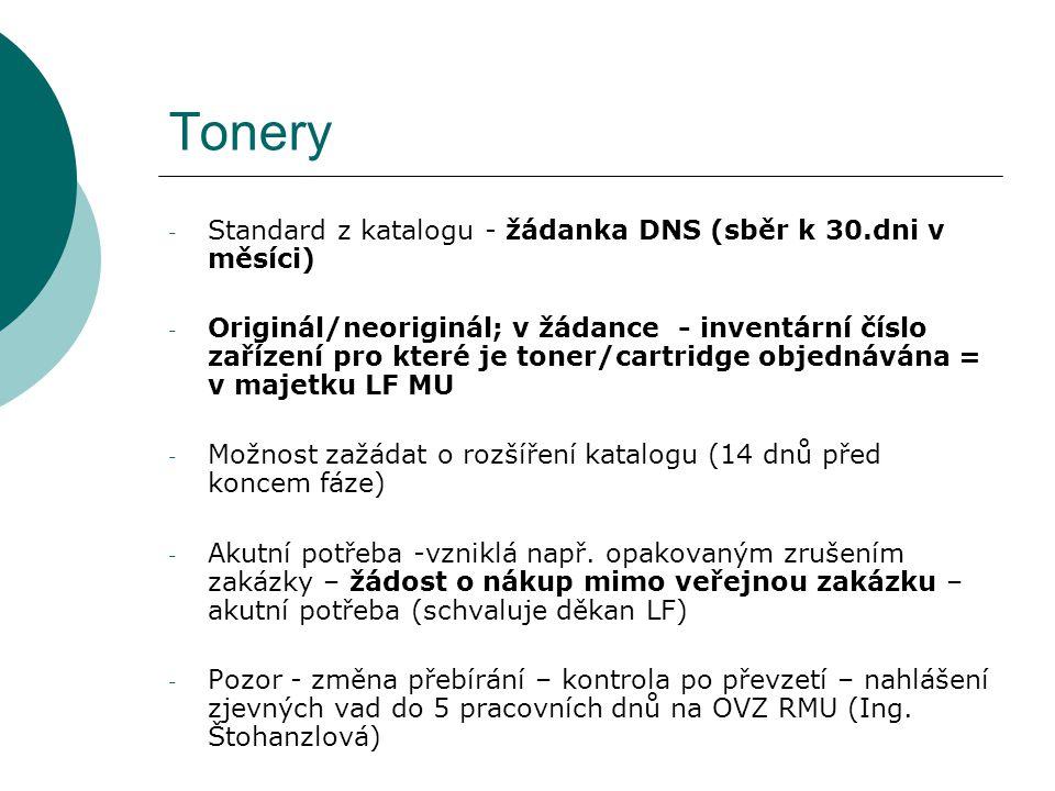 Tonery Standard z katalogu - žádanka DNS (sběr k 30.dni v měsíci)