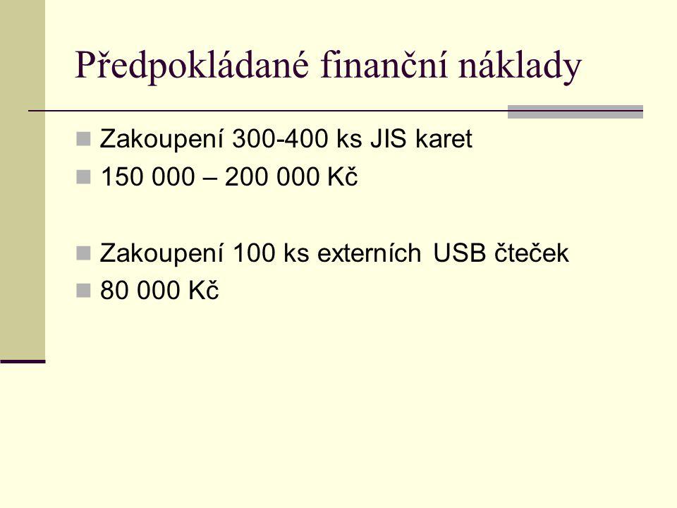 Předpokládané finanční náklady