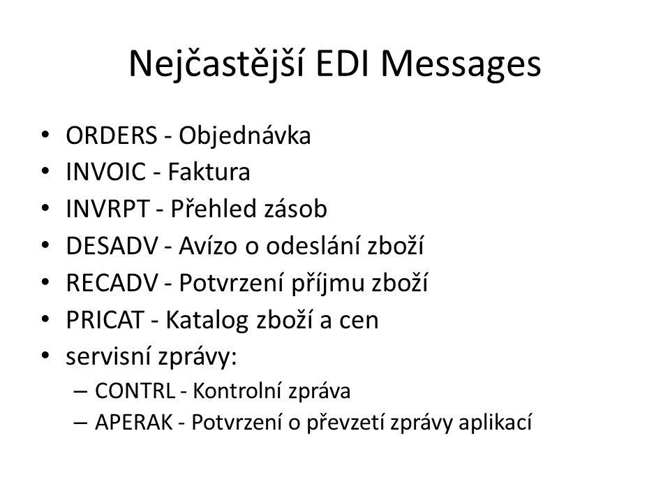 Nejčastější EDI Messages