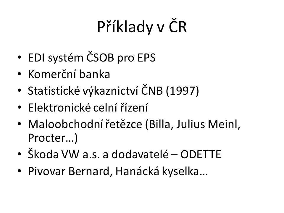 Příklady v ČR EDI systém ČSOB pro EPS Komerční banka