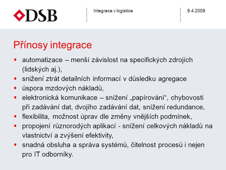Přínosy integrace automatizace – menší závislost na specifických zdrojích (lidských aj.), snižení ztrát detailních informací v důsledku agregace.