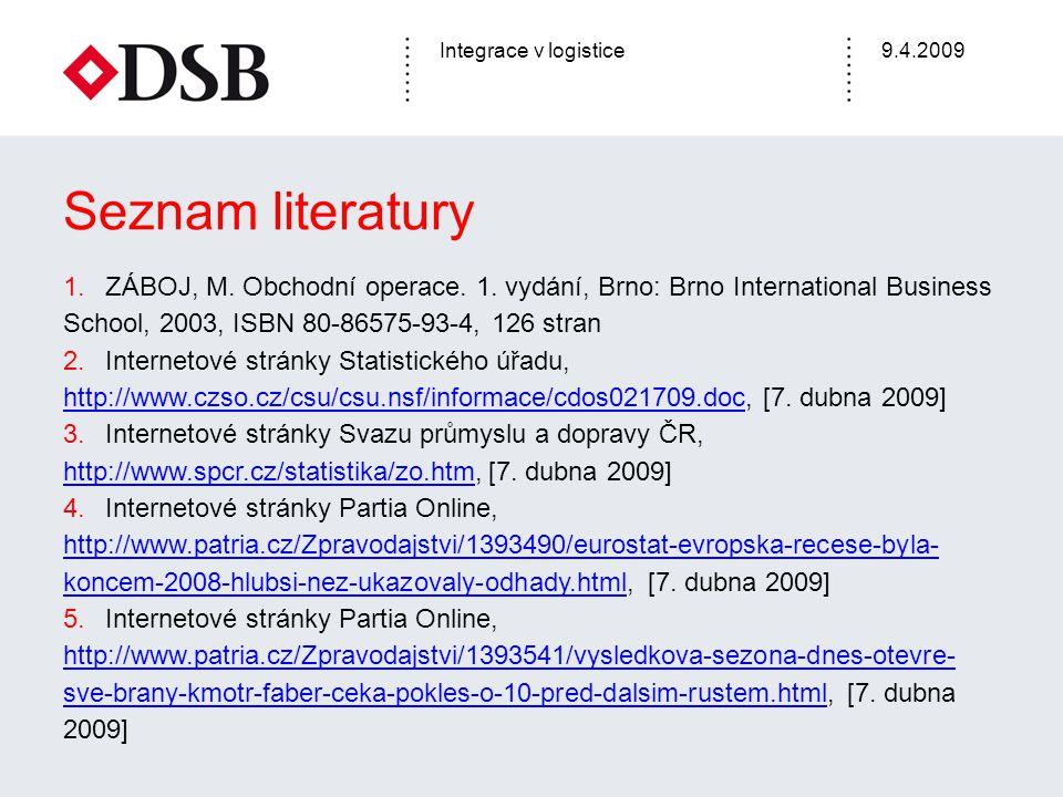 Seznam literatury ZÁBOJ, M. Obchodní operace. 1. vydání, Brno: Brno International Business School, 2003, ISBN 80-86575-93-4, 126 stran.