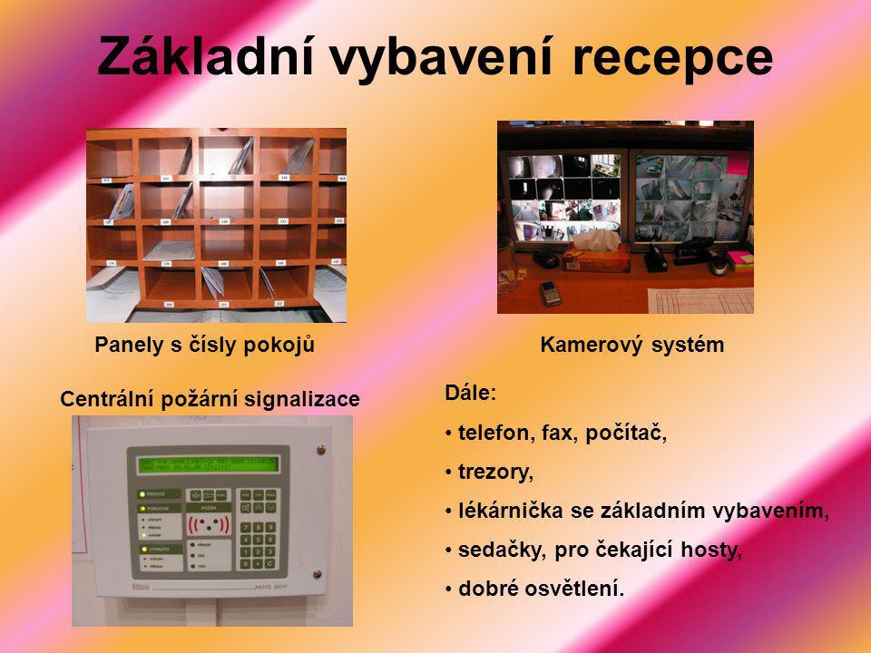 Základní vybavení recepce