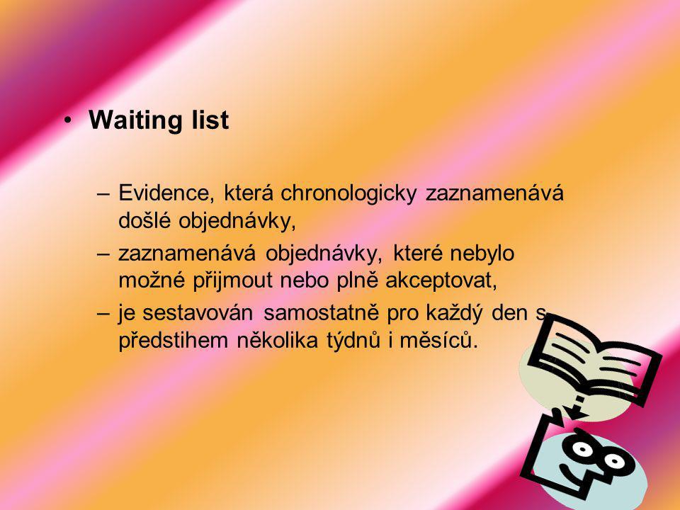 Waiting list Evidence, která chronologicky zaznamenává došlé objednávky, zaznamenává objednávky, které nebylo možné přijmout nebo plně akceptovat,