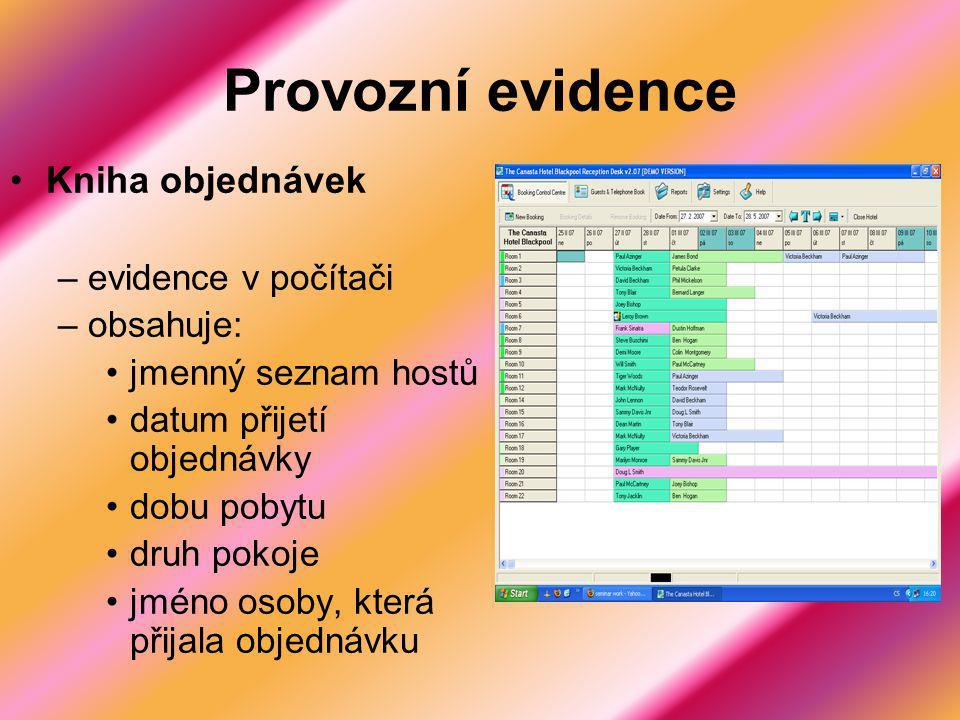 Provozní evidence Kniha objednávek evidence v počítači obsahuje: