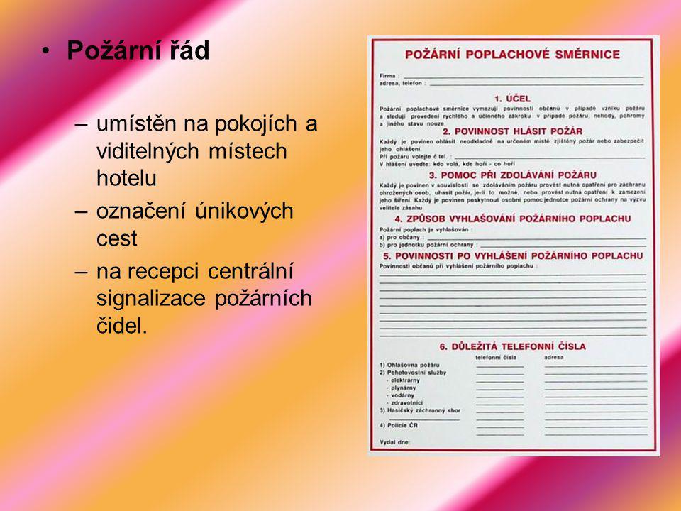 Požární řád umístěn na pokojích a viditelných místech hotelu