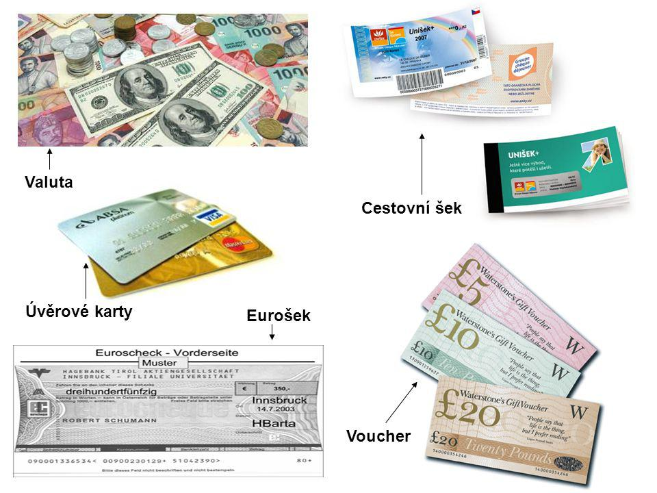 Valuta Cestovní šek Úvěrové karty Eurošek Voucher