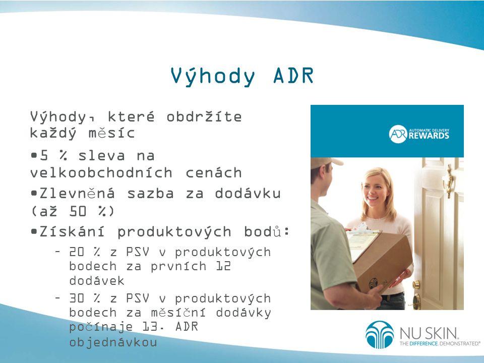 Výhody ADR Výhody, které obdržíte každý měsíc