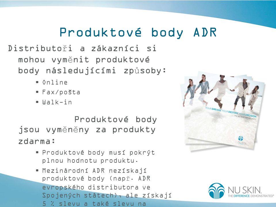 Produktové body ADR Distributoři a zákazníci si mohou vyměnit produktové body následujícími způsoby: