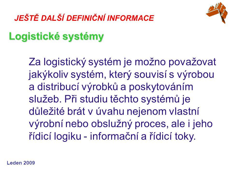 CW13 JEŠTĚ DALŠÍ DEFINIČNÍ INFORMACE. Logistické systémy.