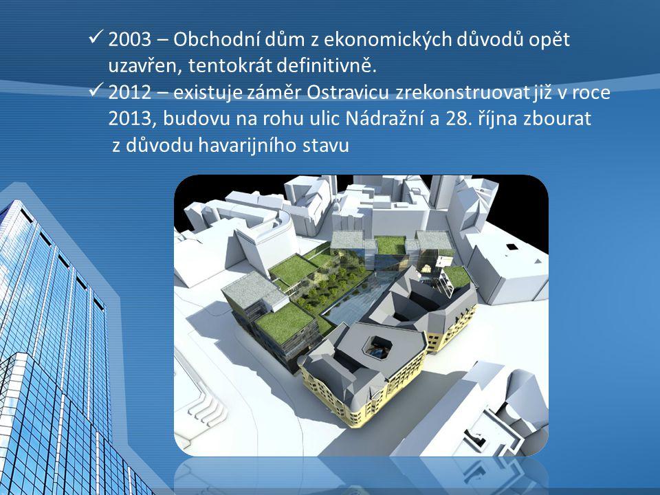 2003 – Obchodní dům z ekonomických důvodů opět uzavřen, tentokrát definitivně.