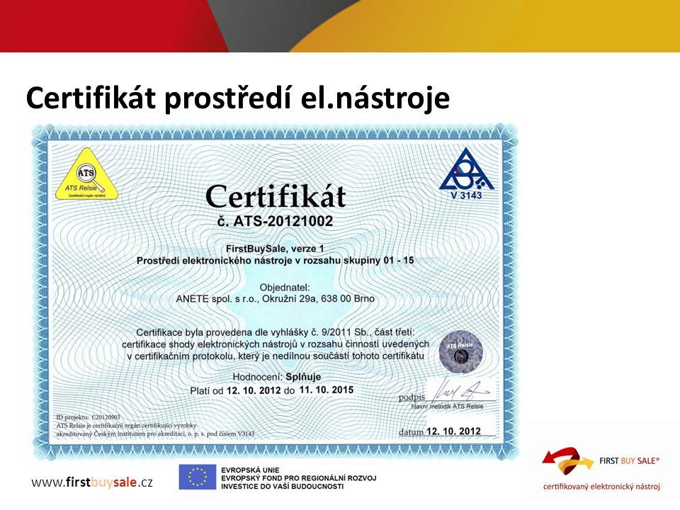 Certifikát prostředí el.nástroje