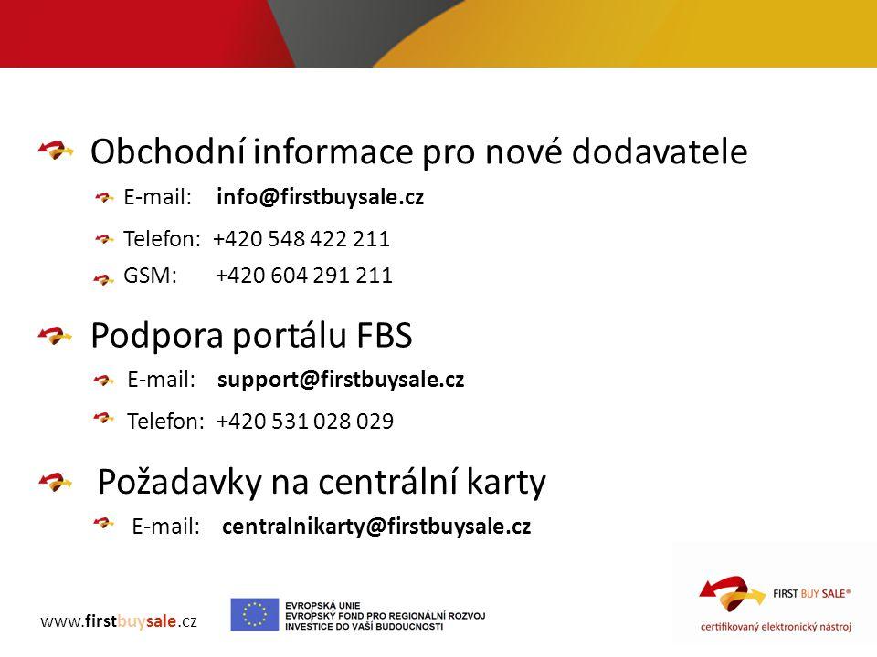 Obchodní informace pro nové dodavatele