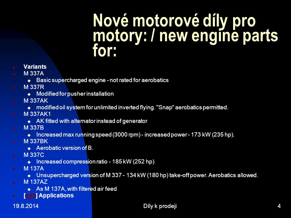 Nové motorové díly pro motory: / new engine parts for: