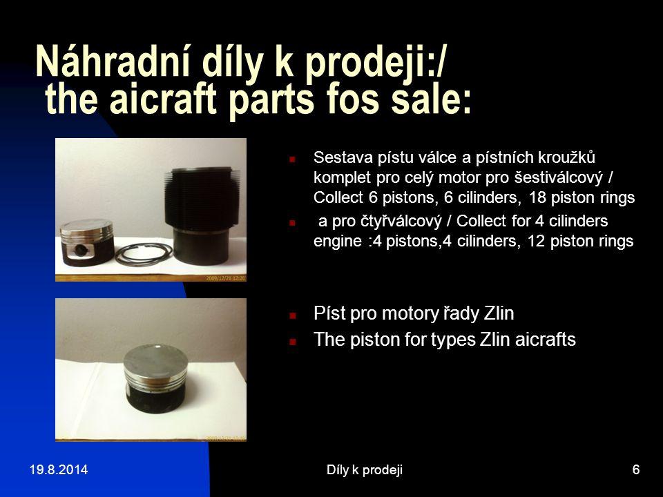 Náhradní díly k prodeji:/ the aicraft parts fos sale: