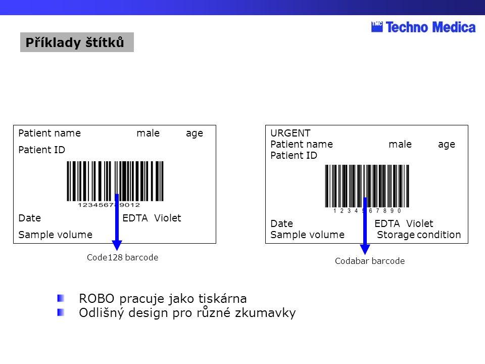 ROBO pracuje jako tiskárna Odlišný design pro různé zkumavky
