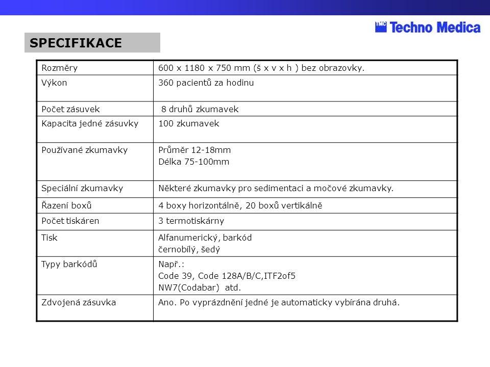 SPECIFIKACE Rozměry 600 x 1180 x 750 mm (š x v x h ) bez obrazovky.